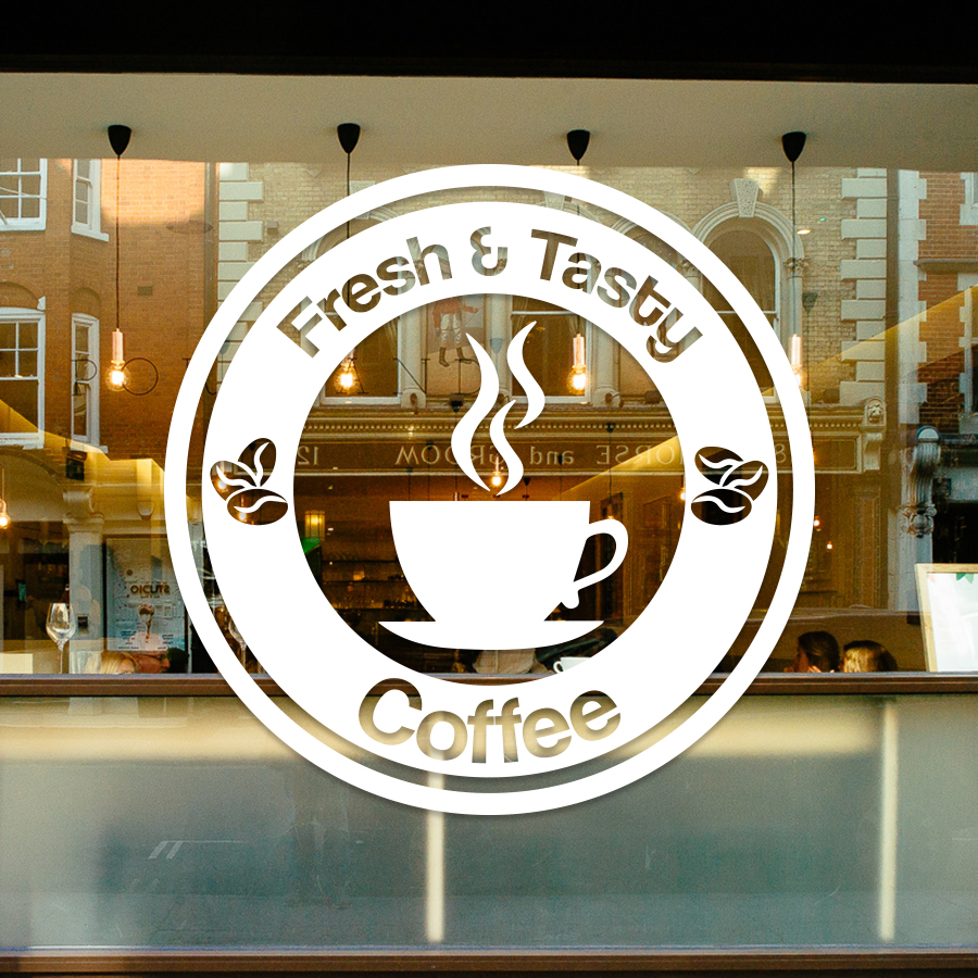Coffee shop café window sign sticker decals #CSP004 - Vivid
