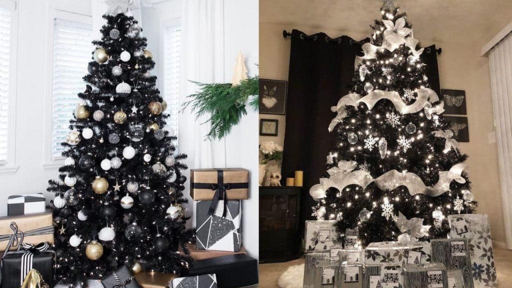 ideas para decorar arboles de navidad negros