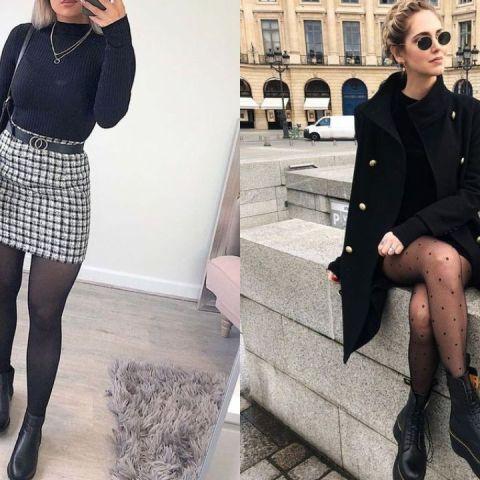 outfits con falda o vestido y medias para invierno