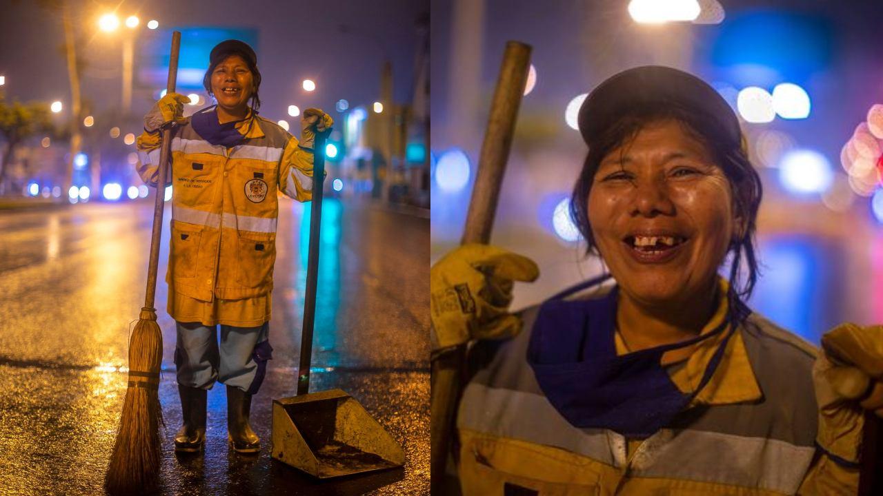 nancy trabaja limpiando calles por su hija
