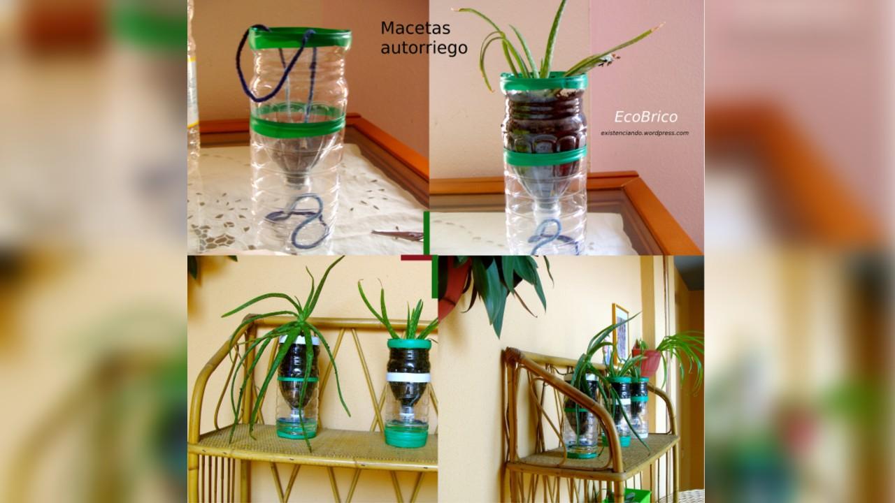 macetas autorriego con botellas de plástico