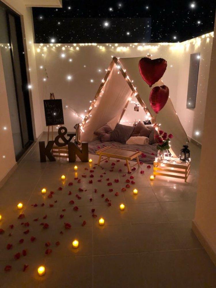 cita romántica en teepee ideas san valentin