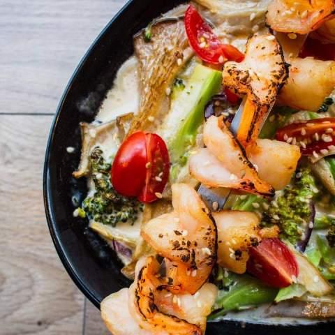 receta de ensalada con camarones temporada primavera