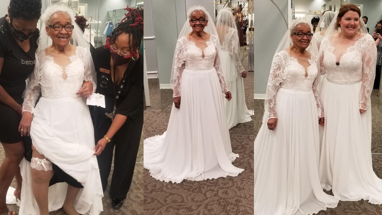 La mujer que cumplió su sueño de probarse un vestido de novia