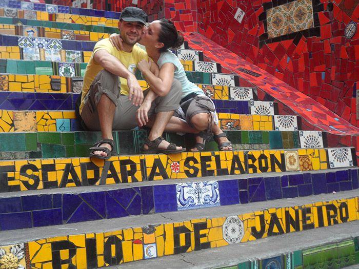Famosas escaleras que unen el barrio de Lapa con Santa Teresa