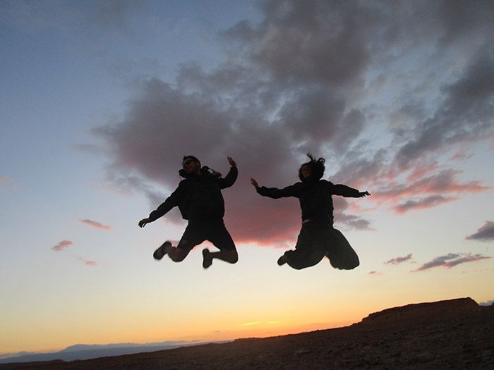 Gran salto durante la puesta de sol...