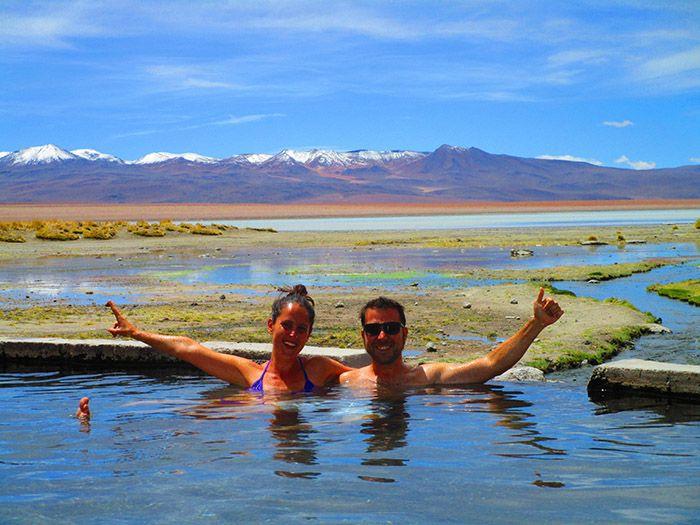 Bañito de agua caliente en plena naturaleza... ¿que más se puede pedir?