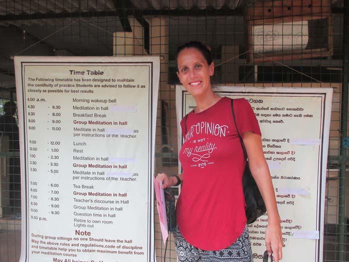 Horario Retiro de Meditación Vipassana en Kandy, Sri Lanka