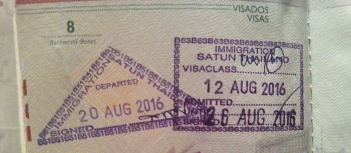 Visa on arrival tailandia Satun
