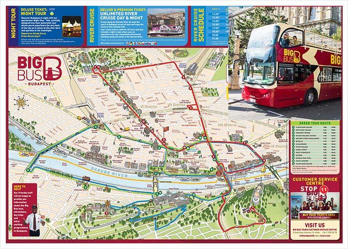 Mapa turístico Budapest Bus turístico Big Bus