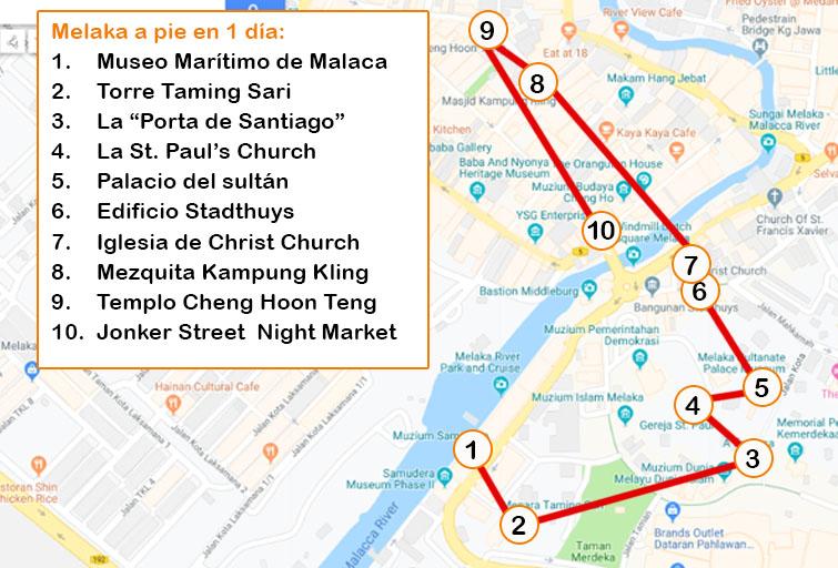 mapa Qué ver en Melaka en 1 dia a pie
