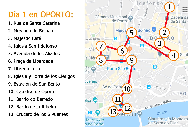 Mapa dia 1 en Oporto Viviendoporelmundo