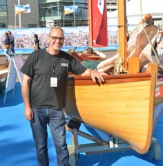 Ross Cameron and Ilur at Southampton boatbuiding show 2015