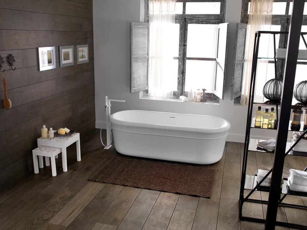 bois ou carrelage pour le sol de la salle de bain salon viving