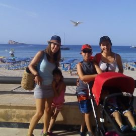 Con los niños en la Mochila en Benidorm