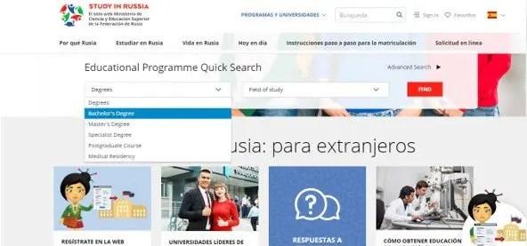 cómo encontrar programas académicos en la página de study in russia
