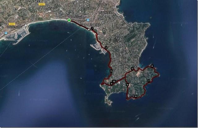 Vue parcours Juan les pin - Cap d'antibes Satellitte