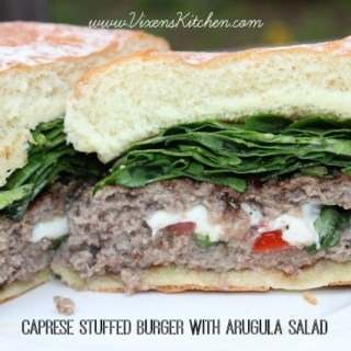 Caprese Stuffed Burger with Arugula Salad