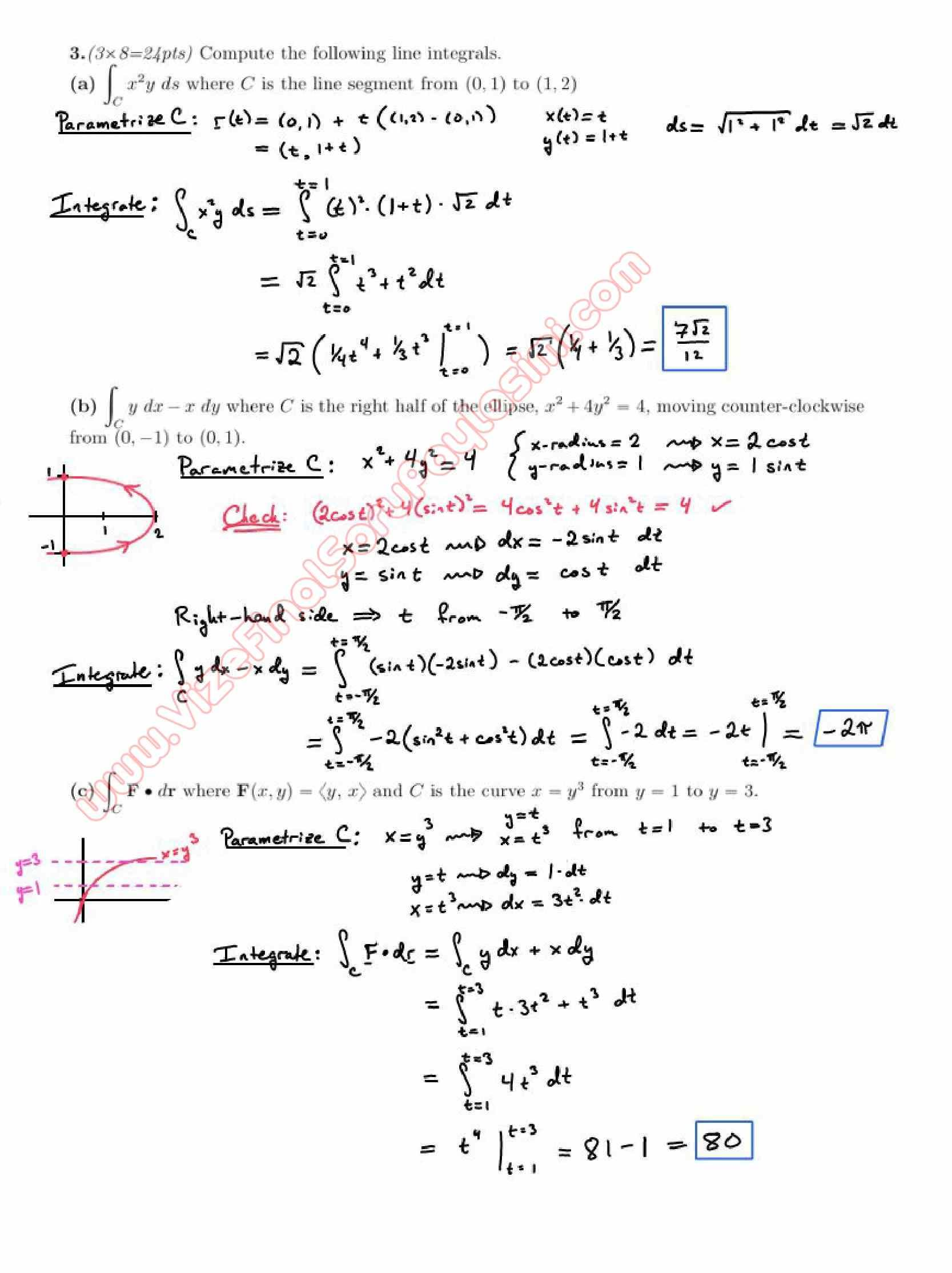 Calculus For Functions Of Several Variables Second Midterm Exam Questions And Solutions Spring