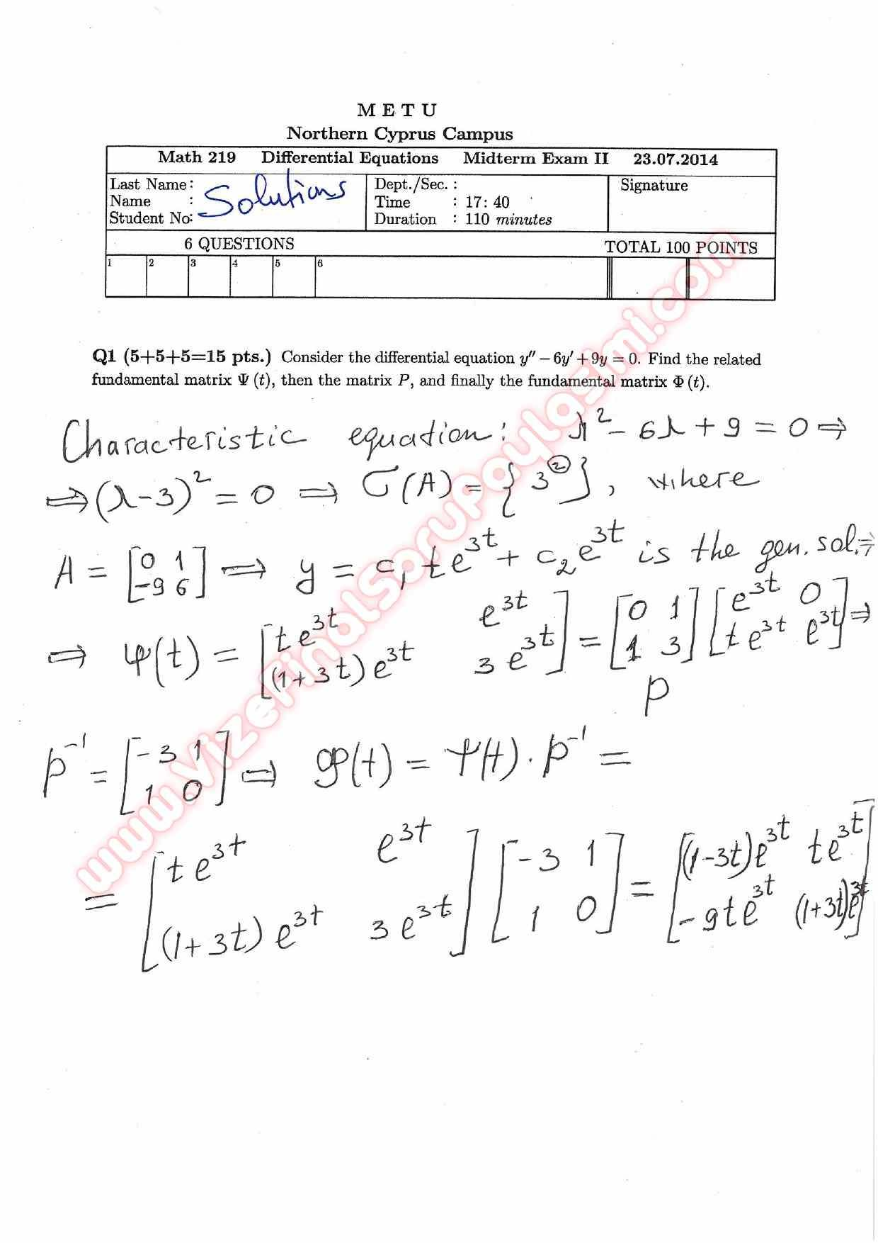 Differential Equations Second Midterm Exam Questions And Solutions Summer Vize Ve Final