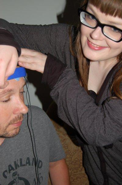Carrie Gates demonstrating her brainwave VJ system, Psychic Armchair TV, 2009