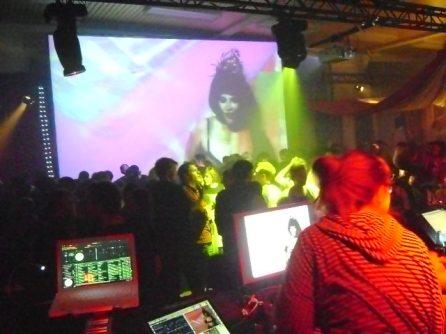 VJ Carrie Gates performing at the Kassel Dokfest, 2010