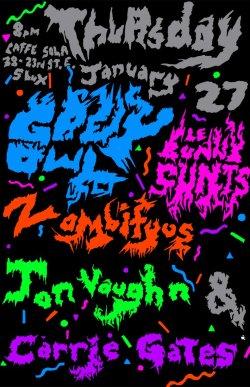 yaya Poster for show at Jale, Saskatoon, SK, Jan. 27, 2011 - Poster by Jon Vaughn/