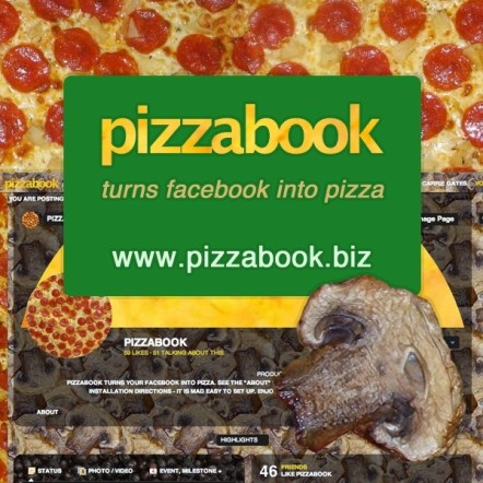 Pizzabook turns your facebook into pizza