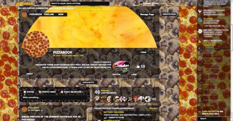 Pizzabook Facebook Page Screen Capture - November 2012