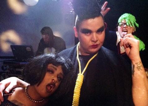 Slimepunk Photobombin hottie duo at PAVED Arts' Vampire Beat party