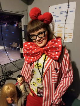 VJ Carrie Gates Backstage at the 20 Year Anniversary Reunion Rave in Saskatoon at PAVED Arts - July 29, 2019