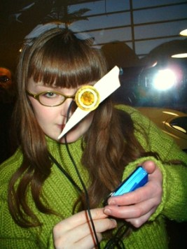 Carrie Gates with Contact Microphone at the Mendel Art Gallery Doing Field Recordings with Minidisc Player 2003