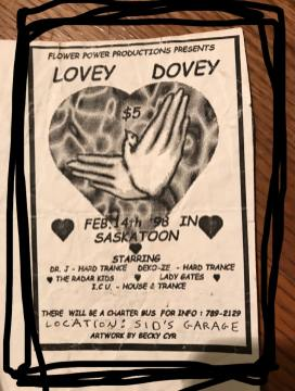 Lovey Dovey Rave Flyer - February 14 1998