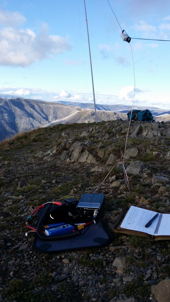 Operating spot  on Mt Feathertop - squid pole is supported by a couple of guys