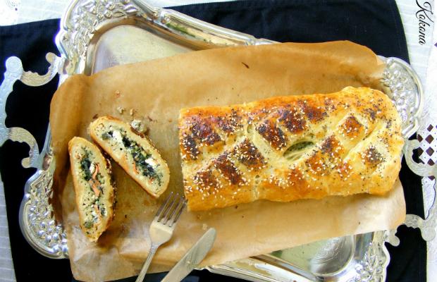 Зелено руло с паста, сирена и бутер тесто