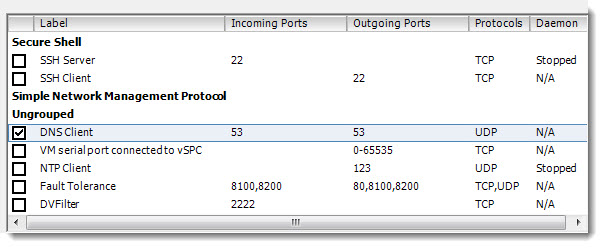 ESXi 5.0 Firewall - Port 53 for DNS requests