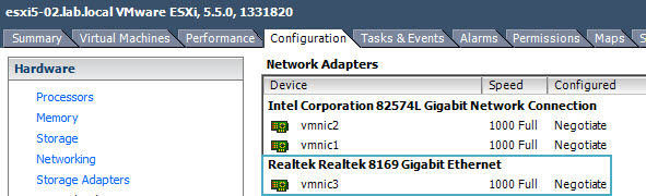 realtec NIC Realtek 8169 NIC in ESXi 5.5 not detected by default   install a VIB