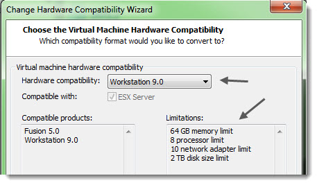 VMware Workstation 9 - Virtual Hardware version 9