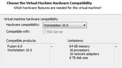 Choose a VM hardware compatibility