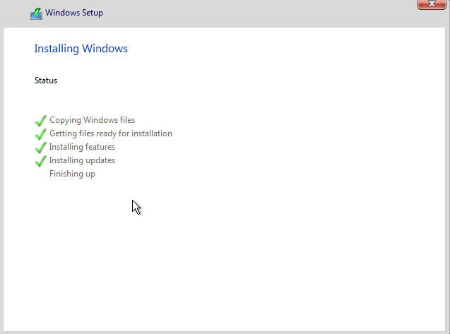 Finishing installation of Windows 10 Technical Preview