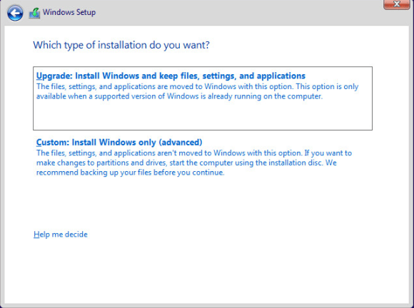 Type of Installation Windows 10