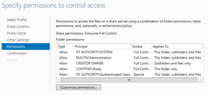 Roaming profiles customize permissions