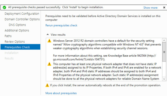 Installing Active Directory and DNS on Windows Server 2012 R2 - Verification of Domain controller