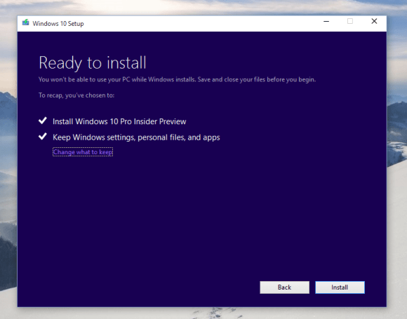 Upgrading Windows 10 Technical Preview version 10162 - Ready for Upgrade