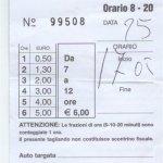 Parkovací lístek z Menaggia - podívejte se na ceny (srpen 2008).