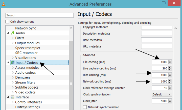 Inputs / Codecs Advanced Preferences