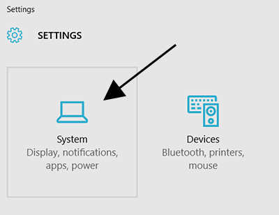 System Settings in Windows 10
