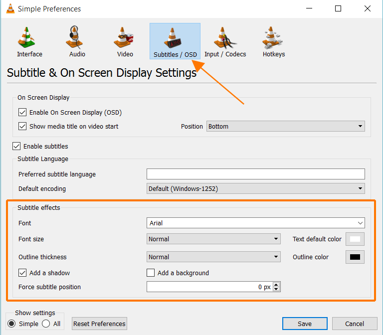 Change Subtitle Font Appearance, Size and Color in VLC