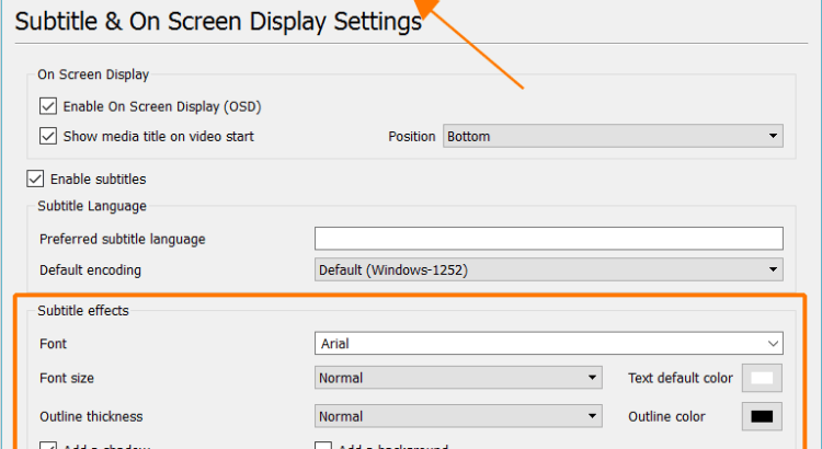 Subtitle and On Screen Display Settings