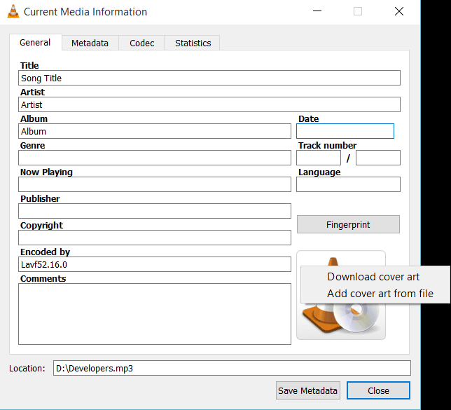 how to get album art on vlc